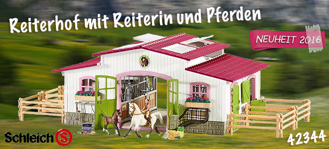 Reiterhof mit Reiterin und Pferden Horse Club
